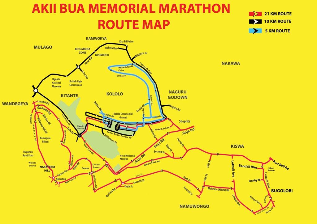 Akii Bua Memorial Marathon map